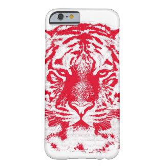 Cierre rojo y blanco de la cara del tigre para funda de iPhone 6 barely there