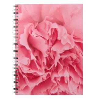 Cierre rosado del clavel del cuaderno para arriba