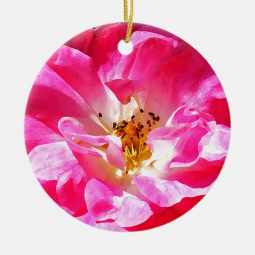 Cierre rosado del rosa para arriba adorno redondo de cerámica