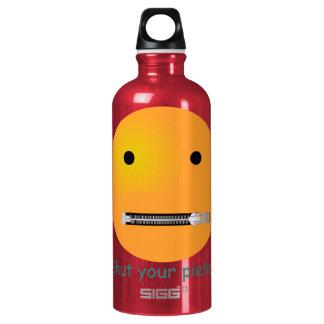 Cierre su cara del smiley de Piehole Botella De Agua