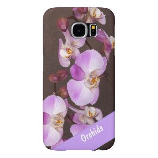 Cierre violeta y blanco de la orquídea encima de fundas samsung galaxy s6
