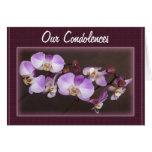 Cierre violeta y blanco de la orquídea encima de tarjeton