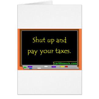 Cierre y pague sus impuestos tarjetas