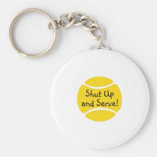 Cierre y sirva el tenis llavero redondo tipo pin