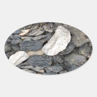 Ciérrese encima de fractal de las piedras pegatinas ovaladas