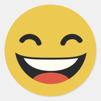 Ciérrese los ojos que ríen emoji pegatina redonda