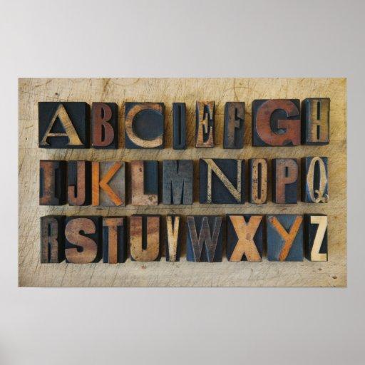 Ciérrese para arriba de alfabeto en la prensa de c posters