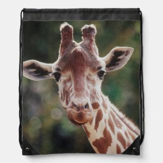 Ciérrese para arriba de jirafa reticulada mochilas