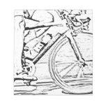 Ciérrese para arriba de la bici bloc de papel