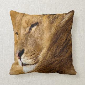 Ciérrese para arriba de la cara principal del león cojín