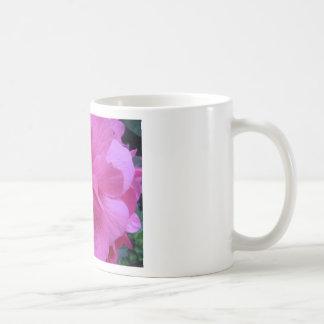 Ciérrese para arriba de la flor rosada taza de café