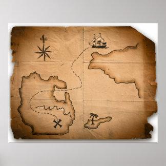 Ciérrese para arriba de mapa del mundo antiguo con impresiones