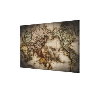 Ciérrese para arriba de mapa del mundo antiguo lona estirada galerías
