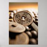 Ciérrese para arriba de moneda china posters
