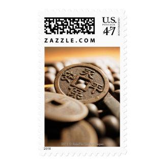Ciérrese para arriba de moneda china timbres postales