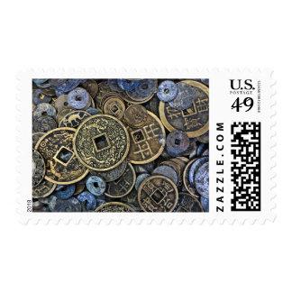 Ciérrese para arriba de monedas vietnamitas sello