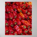 Ciérrese para arriba de pimientas rojas impresiones