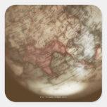 Ciérrese para arriba del globo antiguo 2 calcomania cuadradas personalizadas