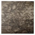 Ciérrese para arriba del mapa antiguo de Europa Tejas Ceramicas