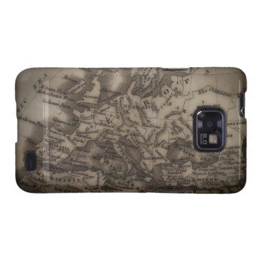 Ciérrese para arriba del mapa antiguo de Europa Samsung Galaxy SII Carcasas