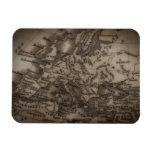 Ciérrese para arriba del mapa antiguo de Europa Imanes Rectangulares