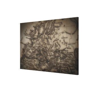 Ciérrese para arriba del mapa antiguo de Europa Impresión De Lienzo