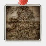 Ciérrese para arriba del mapa antiguo de Inglaterr Ornamentos De Reyes Magos