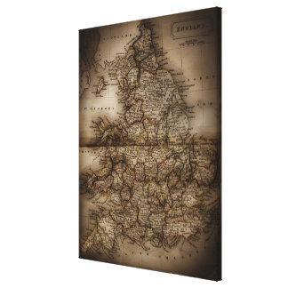 Ciérrese para arriba del mapa antiguo de Inglaterr Lienzo Envuelto Para Galerías