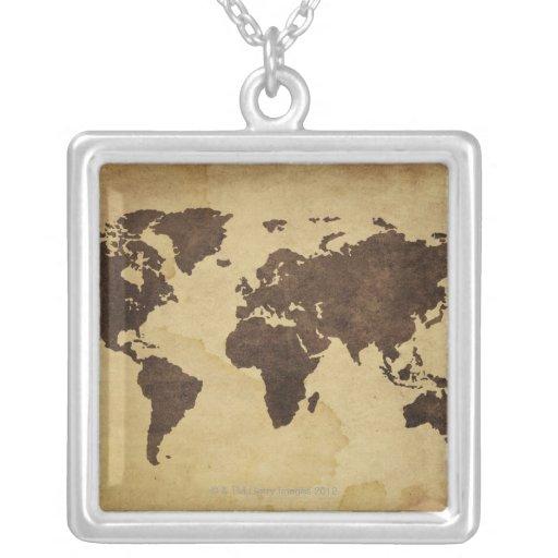 Ciérrese para arriba del mapa del mundo antiguo 3 pendiente