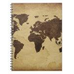Ciérrese para arriba del mapa del mundo antiguo 3 cuadernos