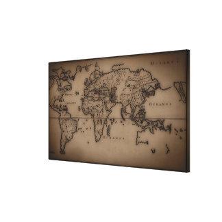 Ciérrese para arriba del mapa del mundo antiguo 3 impresiones en lona