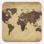 Ciérrese para arriba del mapa del mundo antiguo 3 pegatina cuadrada