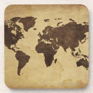 Ciérrese para arriba del mapa del mundo antiguo 3 posavasos