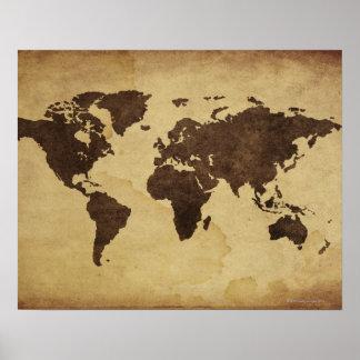 Ciérrese para arriba del mapa del mundo antiguo 3 póster