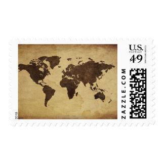 Ciérrese para arriba del mapa del mundo antiguo 3 sello