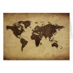 Ciérrese para arriba del mapa del mundo antiguo 3 felicitación