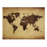 Ciérrese para arriba del mapa del mundo antiguo 3 postal