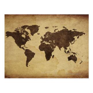 Ciérrese para arriba del mapa del mundo antiguo 3 tarjetas postales