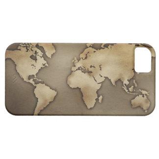 Ciérrese para arriba del mapa del mundo antiguo 4 iPhone 5 fundas