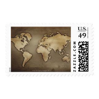 Ciérrese para arriba del mapa del mundo antiguo 4 sello postal