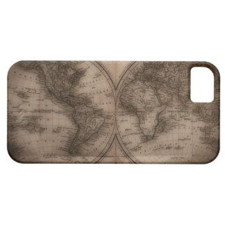 Ciérrese para arriba del mapa del mundo antiguo 5 funda para iPhone SE/5/5s