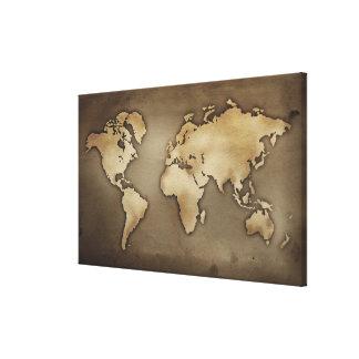 Ciérrese para arriba del mapa del mundo antiguo 5 impresión en lienzo
