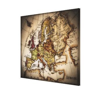Ciérrese para arriba del mapa del mundo antiguo 6 impresión en lienzo estirada