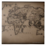 Ciérrese para arriba del mapa del mundo antiguo 7 azulejos cerámicos