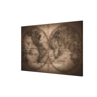 Ciérrese para arriba del mapa del mundo antiguo 7 impresión de lienzo