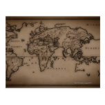 Ciérrese para arriba del mapa del mundo antiguo 7 postal