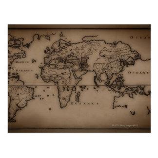 Ciérrese para arriba del mapa del mundo antiguo 7 tarjetas postales