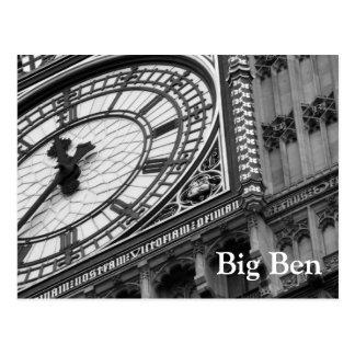 Ciérrese para arriba en Big Ben en blanco y negro Postales