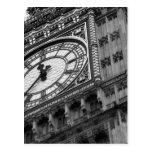 Ciérrese para arriba en Big Ben en blanco y negro Tarjeta Postal
