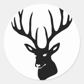 Ciervo cuernos cuernos de ciervo caza alce corzo S Etiqueta Redonda